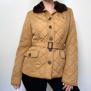 Tommy Hilfiger Tan Quilted Puffer Coat with Belt